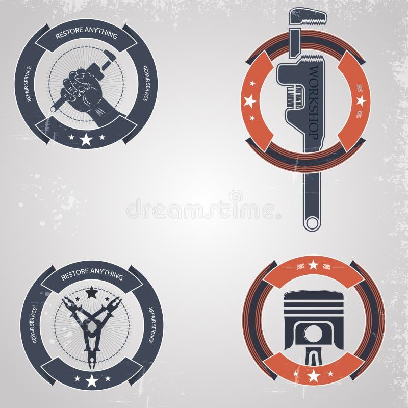 Emblem mechanics vector illustration