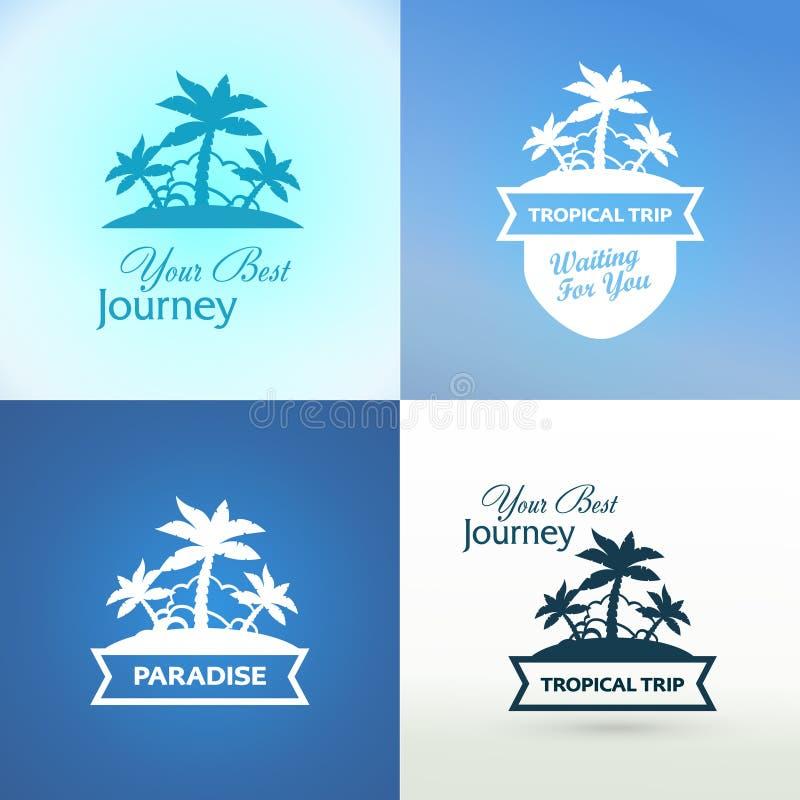 Emblem med den tropiska ön stock illustrationer