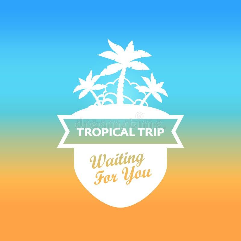 Emblem med den tropiska ön royaltyfri illustrationer