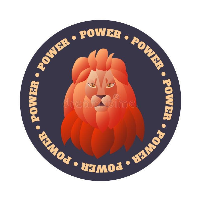 Emblem med ett lejons huvud på en rund bakgrund med text i en cirkel royaltyfri illustrationer
