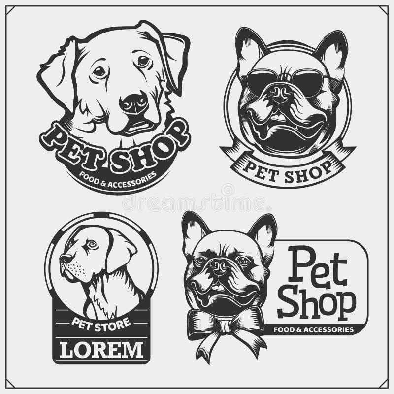 Emblem med hundkapplöpningståenden för husdjur shoppar Gulliga vänliga husdjurtecken Fransk bulldogg och golden retriever royaltyfri illustrationer