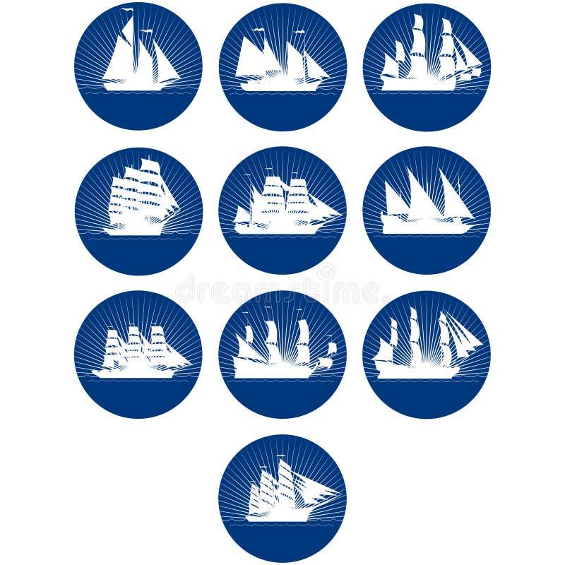 Emblem med seglingskepp royaltyfri illustrationer