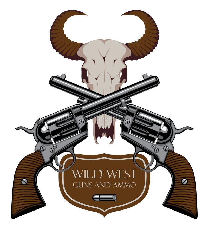 Emblem med två gamla korsade revolvrar och skalle stock illustrationer