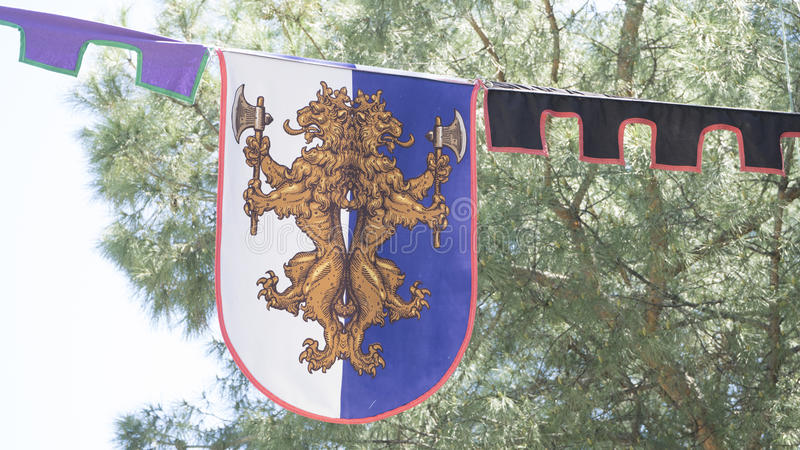 Emblem, medieval coats of arms in a traditional ancient art fair. In Madrid, Spain royalty free stock photography