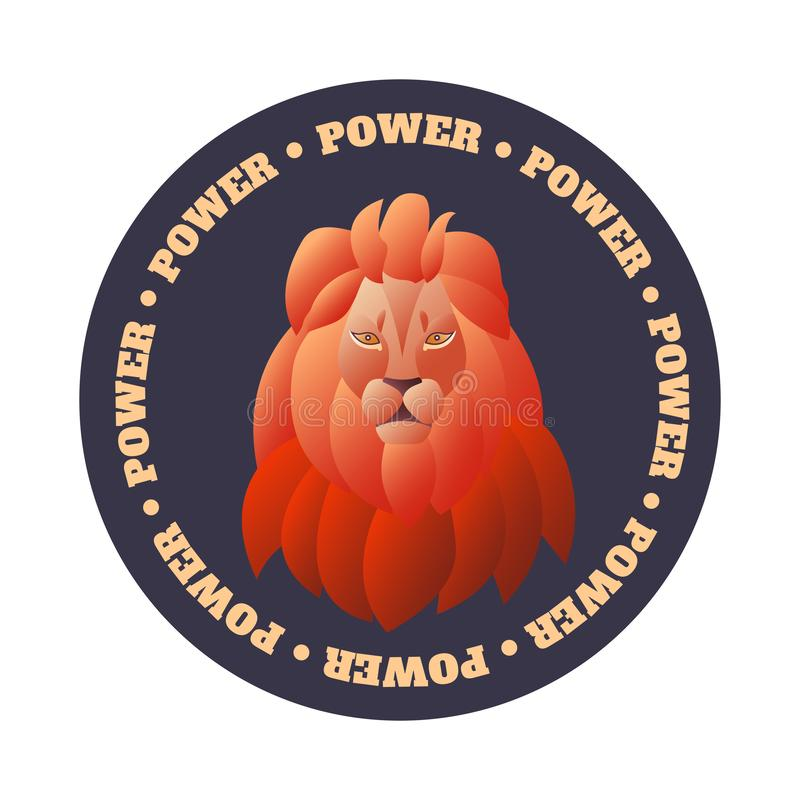 Emblem mit dem Kopf eines Löwes auf einem runden Hintergrund mit Text in einem Kreis lizenzfreie abbildung