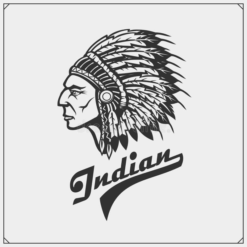 Emblem mit indianischem Leiter stock abbildung