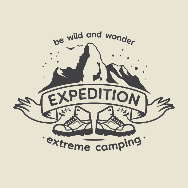 Emblem mit Text Expedition, extremes Kampieren stock abbildung