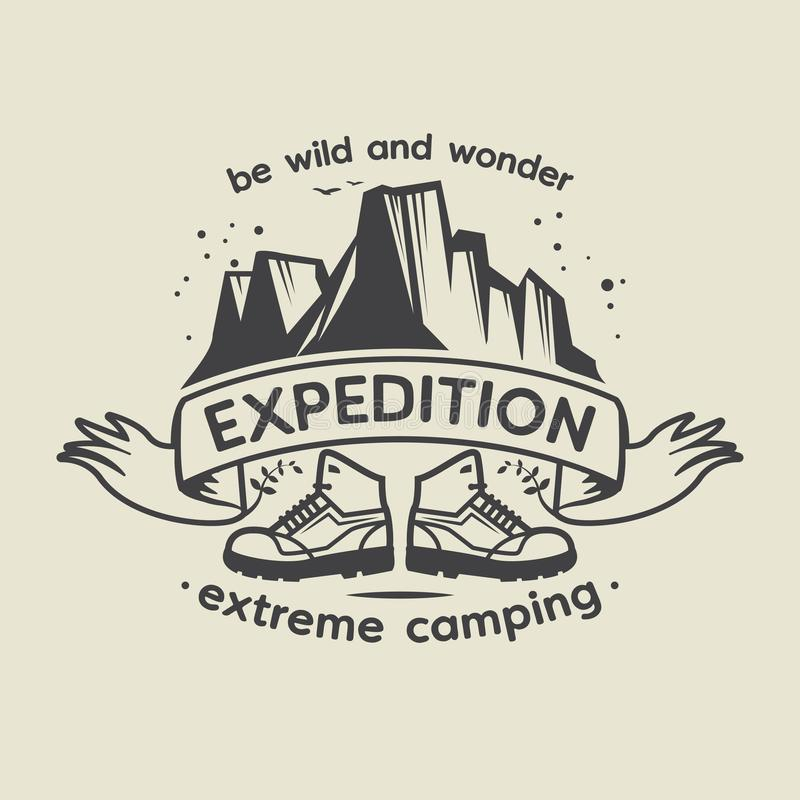 Emblem mit Text Expedition, extremes Kampieren vektor abbildung