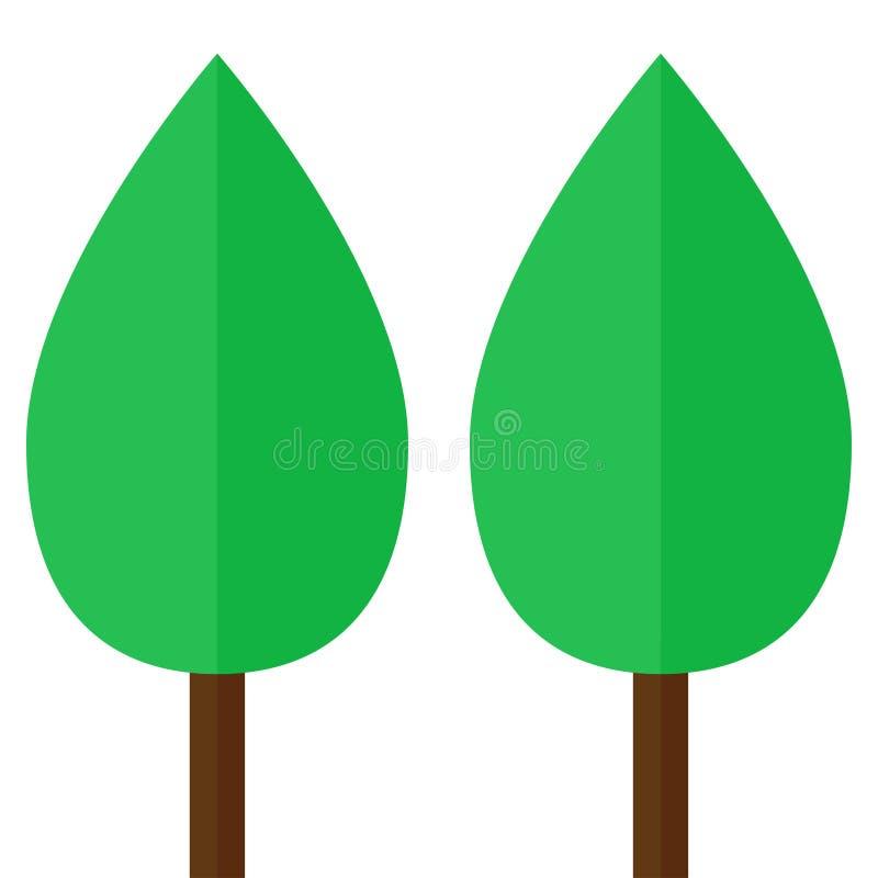 Emblem mit zwei einfaches Bäumen stock abbildung