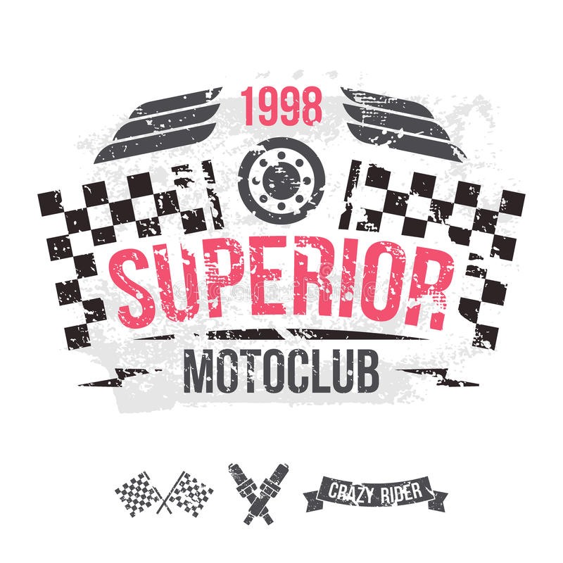 Emblem of the motorcycle club in retro style. Graphic design for t-shirt. Color print on white background stock illustration