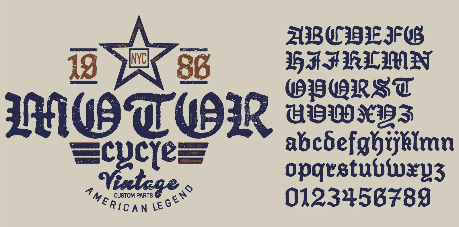 Emblem Motorcycle Collection .Decorative serif font inspired by the Art Deco era. The font is perfect for elegant ligatures logo design. Letters, Numbers and stock illustration