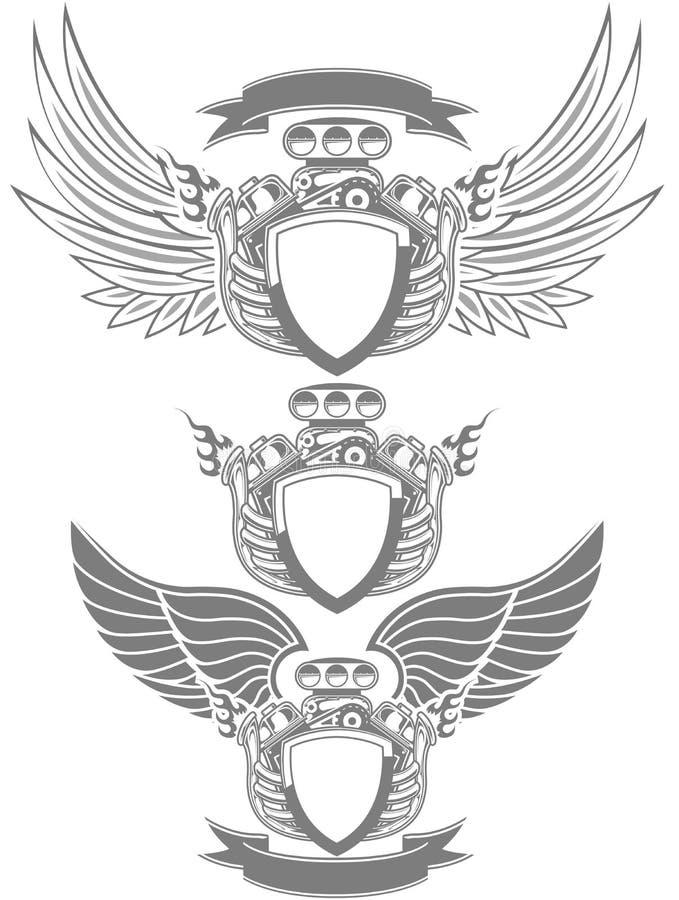 emblem motorn turbo vektor illustrationer
