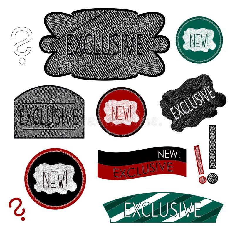 Emblem och en ny artikel med ensamrätt stock illustrationer