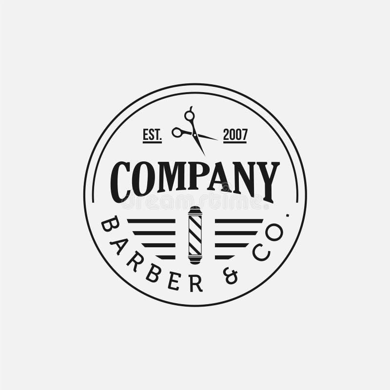 Emblem och etiketter för tappningfrisersalongvektor Barberareemblem och logoer stock illustrationer
