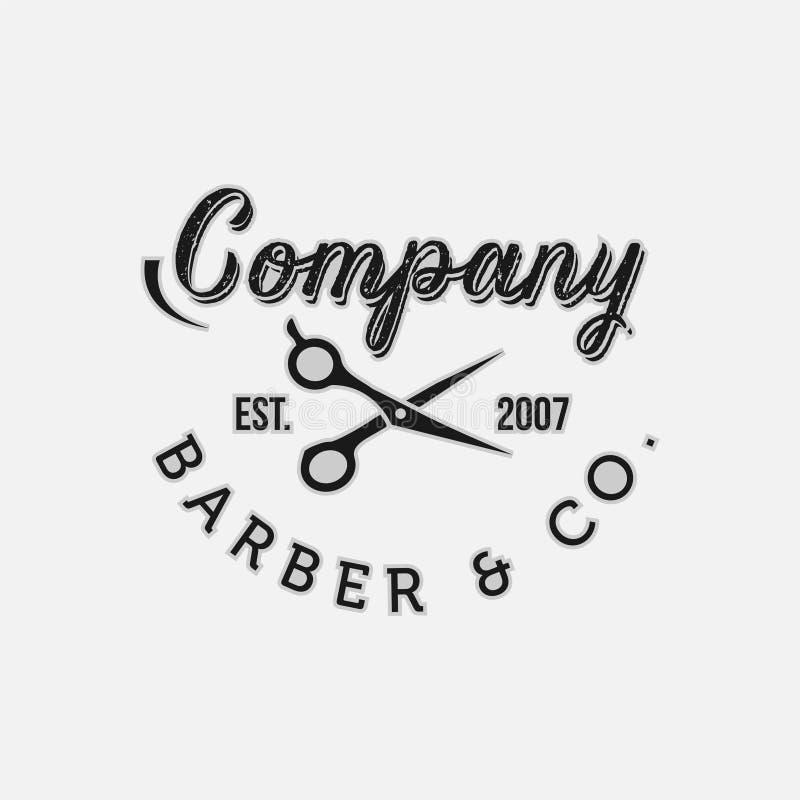Emblem och etiketter för tappningfrisersalongvektor Barberareemblem och logoer royaltyfri illustrationer