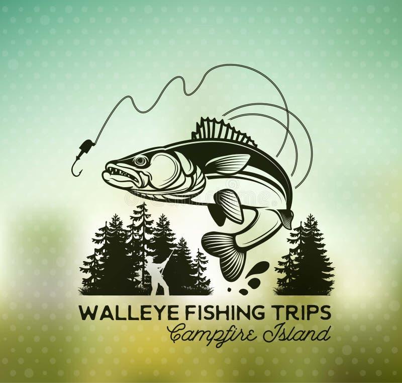 Emblem och etiketter för tappningWalleyefiske royaltyfri illustrationer