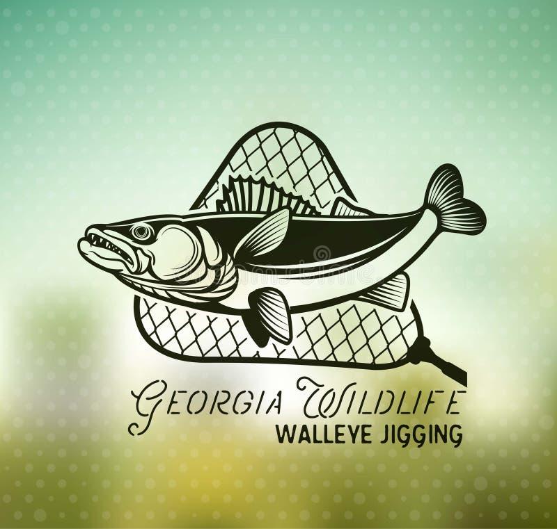 Emblem och etiketter för tappningWalleyefiske stock illustrationer