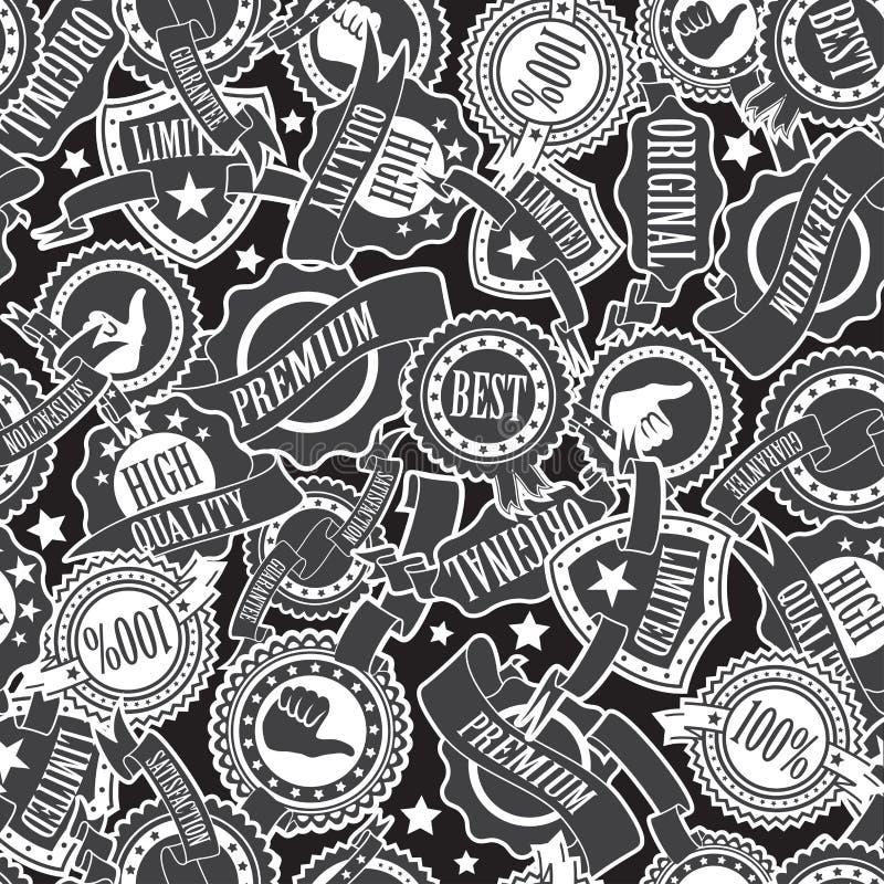 Emblem och sömlös modell för band stock illustrationer