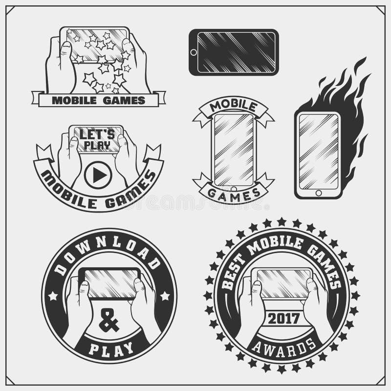 Emblem och symboler av mobila lekar och apps vektor illustrationer
