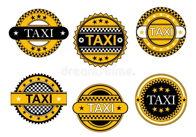 Emblem och tecken för taxi tjänste- stock illustrationer