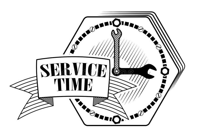 Emblem oder Logo für Autoservice oder Reparatur von Autos Uhr mit Schlüsseln Platz f?r Text Technische Stütz- oder Service-Stando stockfotografie