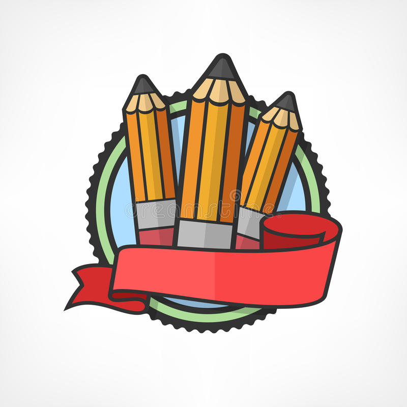 Emblem with pencils on white royalty free illustration