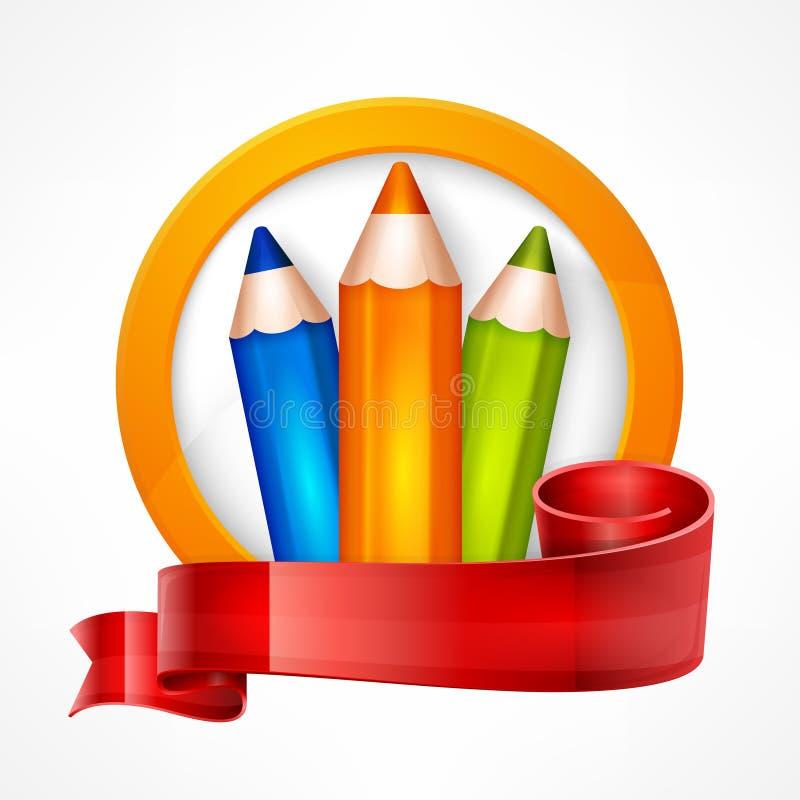 Emblem with pencils on white stock illustration