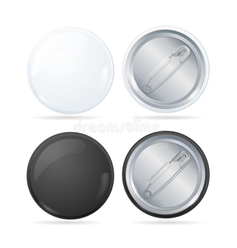 Emblem Pin Set för knapp för mallmellanrumscirkel vektor royaltyfri illustrationer