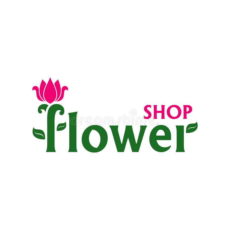 Vector logo for flower shop. Emblem with pink tulip. Business sign for florist, flower store or symbol of cosmetic company. Floral label. Icon for web royalty free illustration