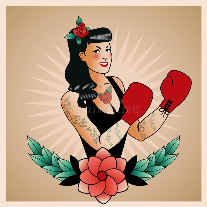 Emblem of pinup boxing girl, with flowers, tattoos and boxing gloves. Retro style. Tattoo style stock illustration