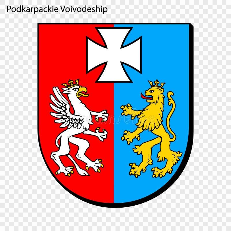 Emblem state of Poland. Emblem of Podkarpackie Voivodeship, state of Poland. Vector illustration royalty free illustration