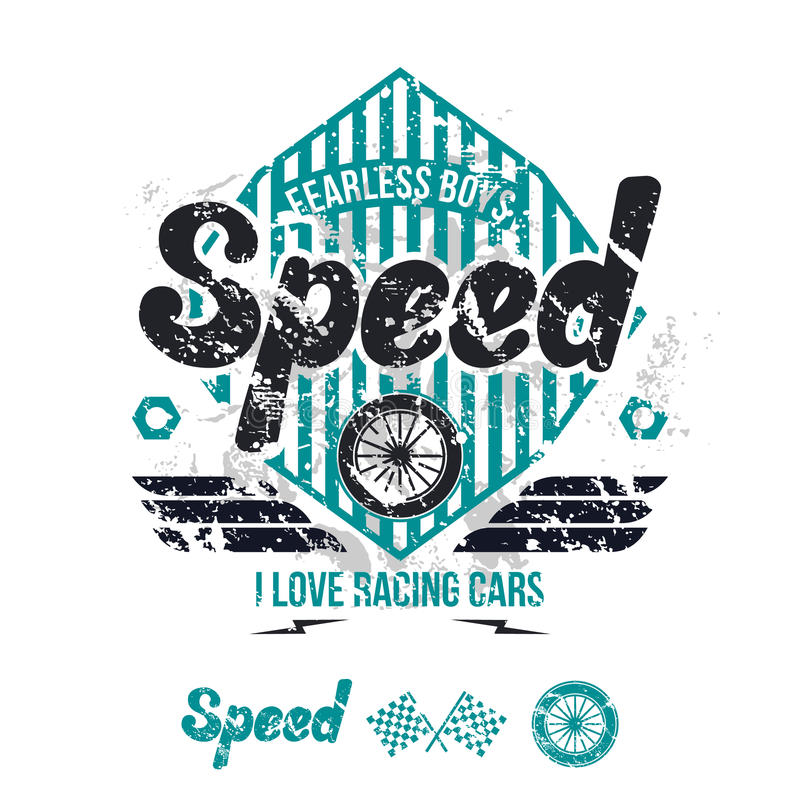 Emblem of the racing car in retro style vector illustration