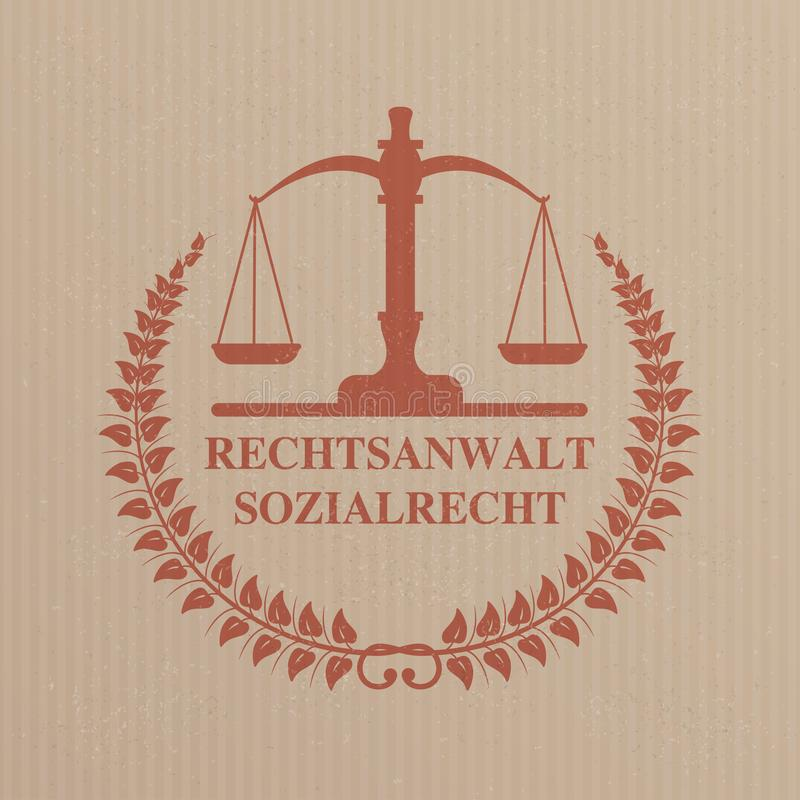 Emblem Rechtsanwalt Sozialrecht Striped Carton Background royalty free stock images