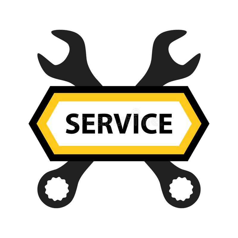 Emblem for Repair Service of Mechanics, Electronics or Software royalty free illustration