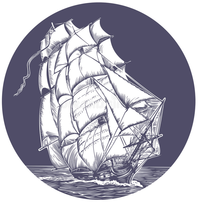 Emblem of sail ship. Emblem of ship with white sail
