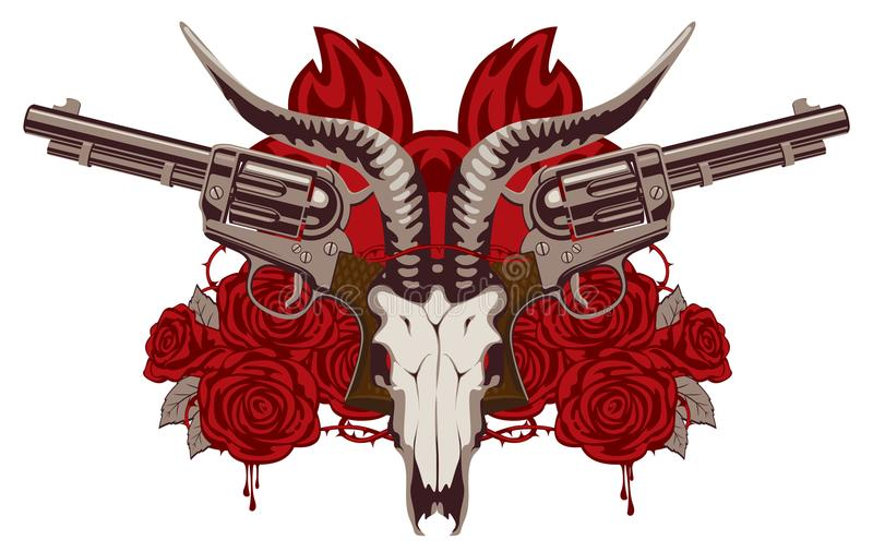Emblem with skull of goat red roses and pistols stock vector download emblem with skull of goat red roses and pistols stock vector illustration of voltagebd Gallery