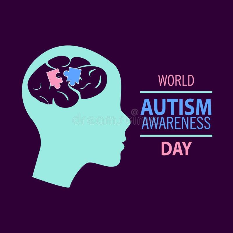 Emblem som göras från pusselstycken och autismfärger stock illustrationer