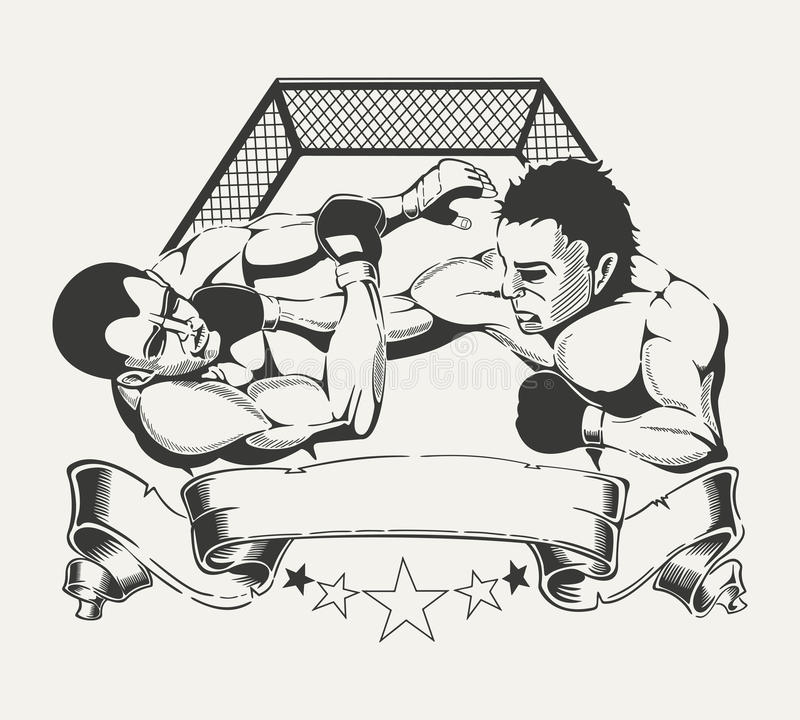 Emblem for sports club with the image of two. It is emblem for sports club with the image of two boxers in the ring vector illustration