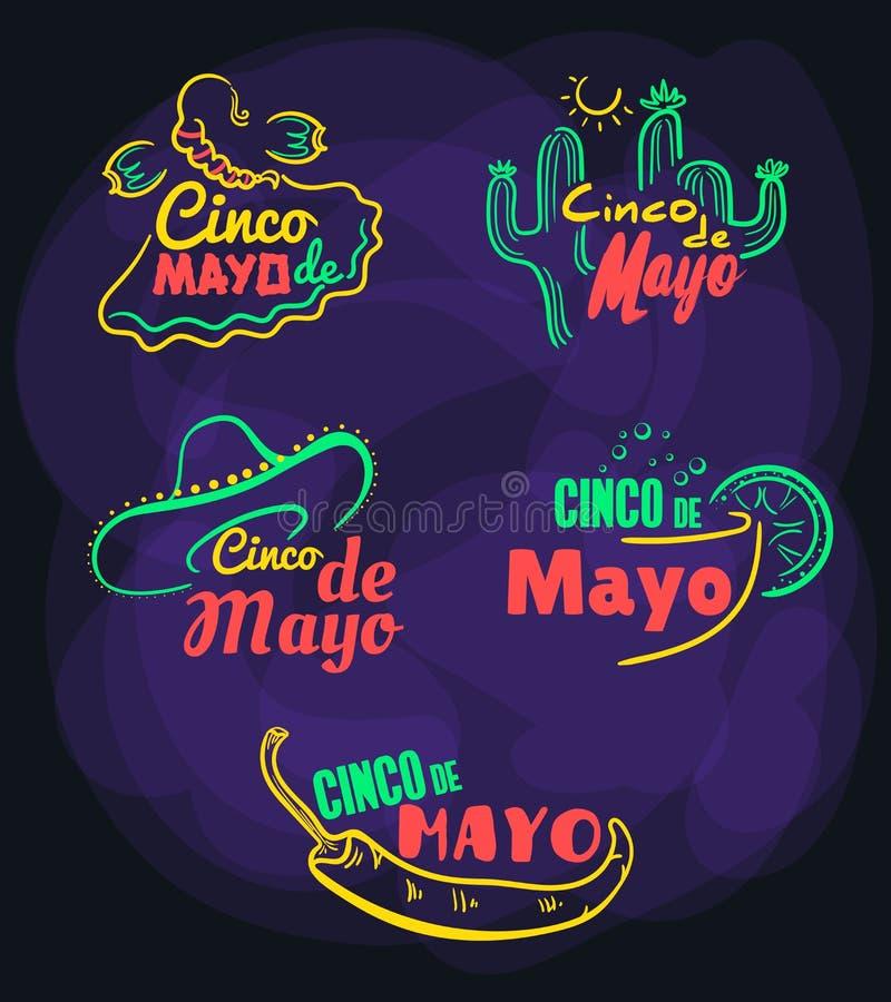 Emblem ställde in Cinco De Mayo stock illustrationer