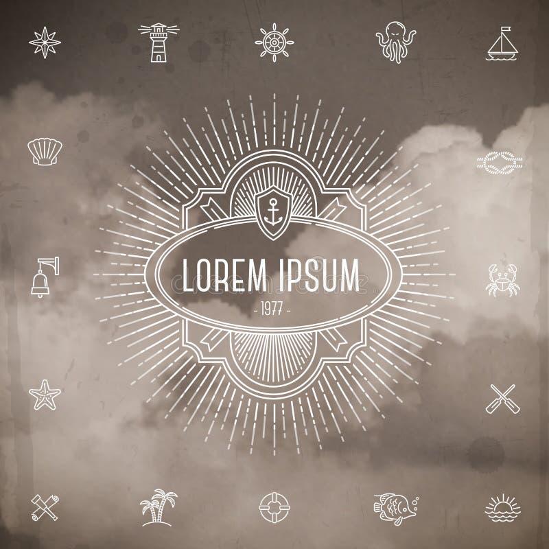 Emblem with sunburst and set of travel line icons vector illustration