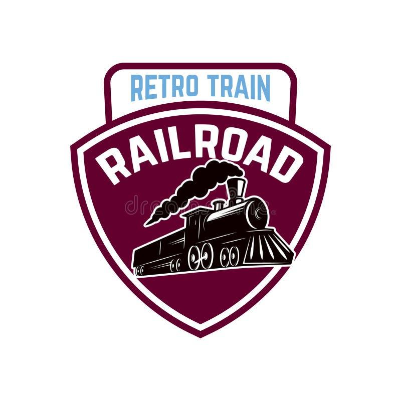 Emblem template with retro train. Rail road. Locomotive. Design element for logo, label, emblem, sign. Vector illustration royalty free illustration