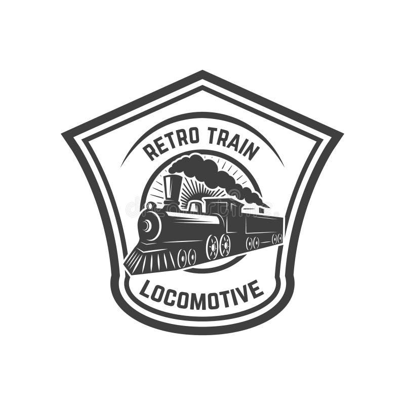 Emblem template with retro train. Rail road. Locomotive. Design element for logo, label, emblem, sign. Vector illustration vector illustration