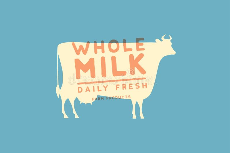 Emblem template with white silhouette of cow against blue background and sample text: Daily fresh whole milk. Image for milk store stock illustration