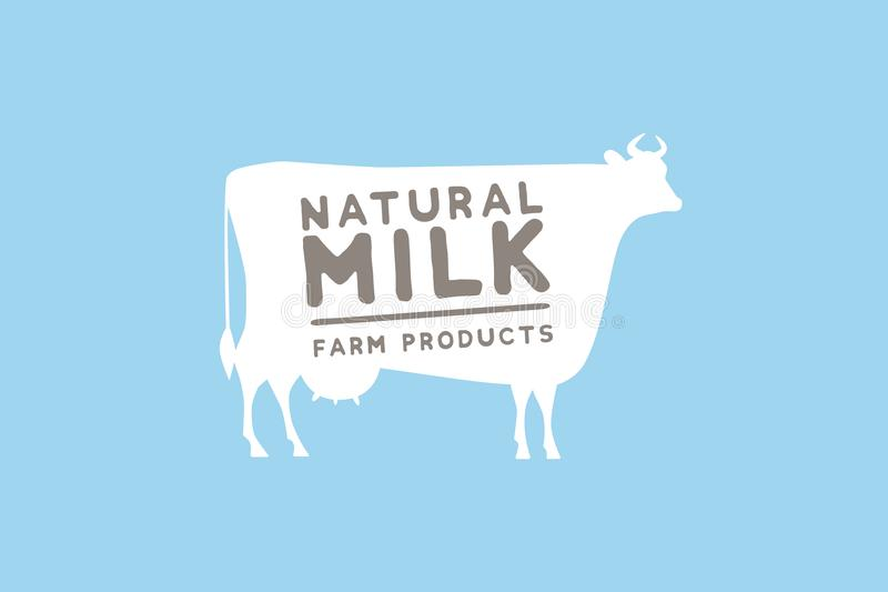Emblem template with white silhouette of cow against blue background and sample text: natural milk and farm products. Image for milk stores, market, packaging vector illustration
