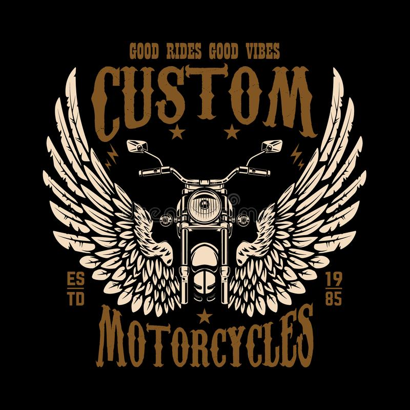 Emblem template with winged motorcycle. Design element for poster, t shirt, sign, badge. Vector illustration vector illustration