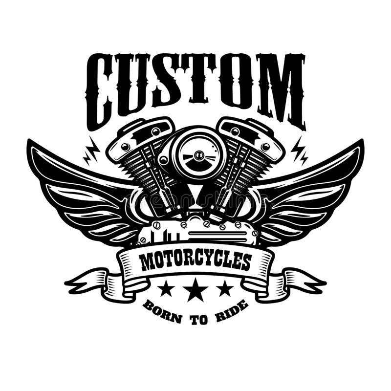Emblem template with winged motorcycle motor. Design element for. Poster, logo, label, sign, t shirt. Vector illustration vector illustration