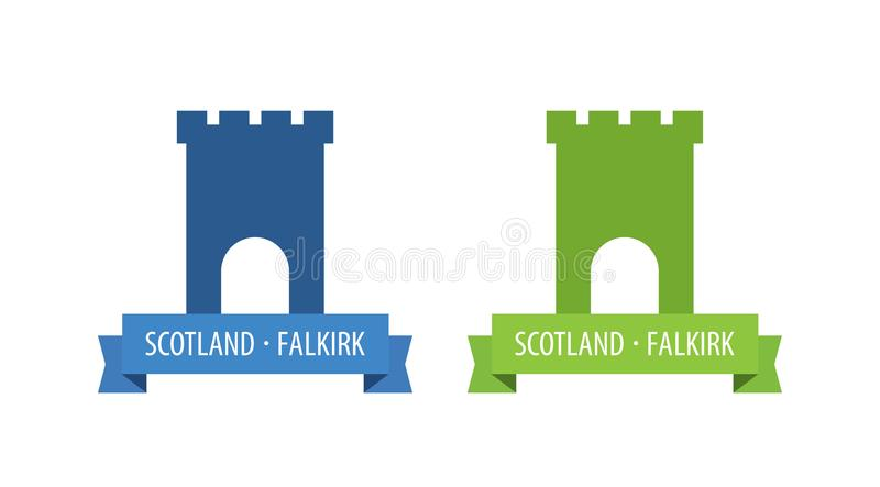 Emblem with Tower of European Medieval Castle with Scroll and Caption. Emblems with Tower of European Medieval Castle with Scroll and Caption. Vector Set of stock illustration