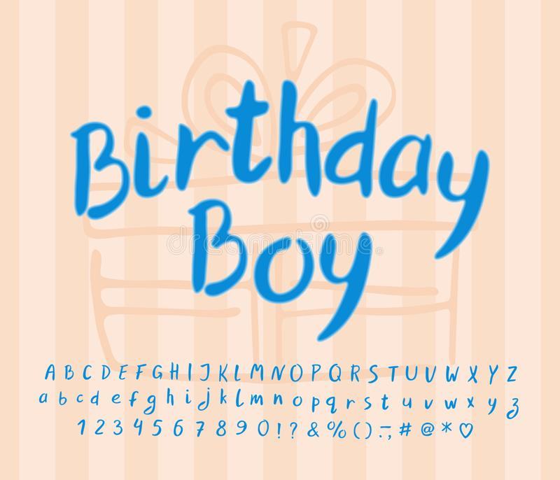 Emblem Vintage design with modern handwritten text Birthday Boy. Vector alphabet collection vector illustration