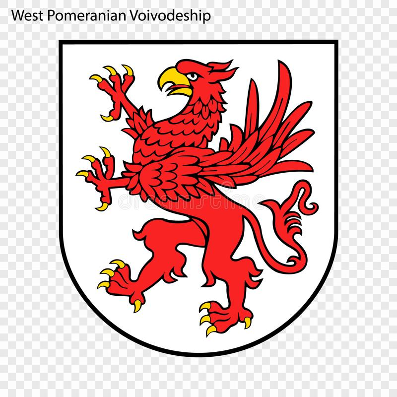 Emblem state of Poland. Emblem of West Pomeranian Voivodeship, state of Poland. Vector illustration stock illustration