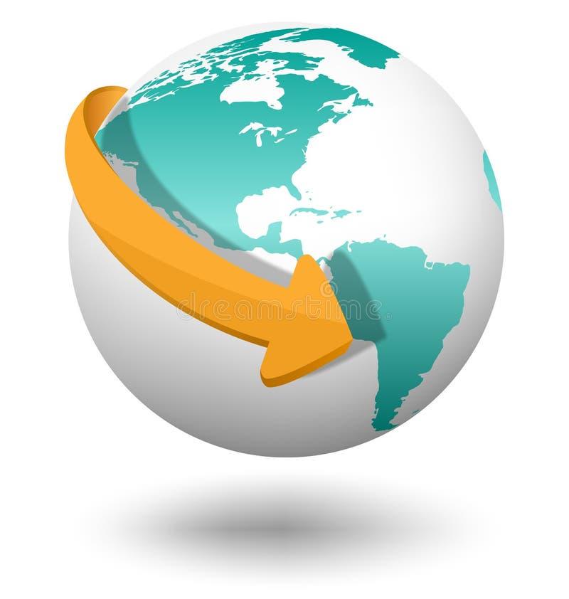 Emblem with white globe and orange arrow isolated on white vector illustration